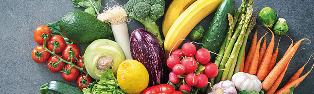 Auswahl an Obst-  und Gemüsesorten für die Darstellung der Zusammenarbeit von activeIT & EDITEL