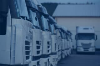 White truck fleet is parking with blue filter