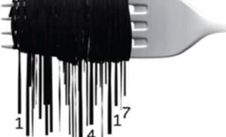 Strichcode verspielt auf einer Gabel dargestellt