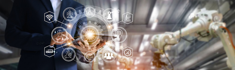 Robotertechnik in der Automobilbranche für die Darstellung der EDI-Anbindung der Vorlieferanten