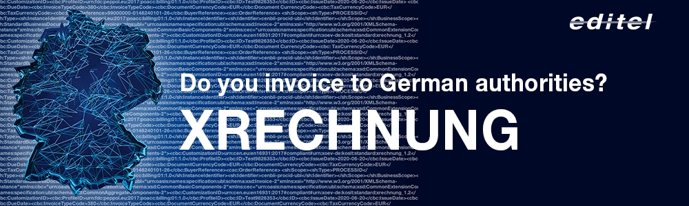 xml data and map of Germany for e-invoices to German federal authorities