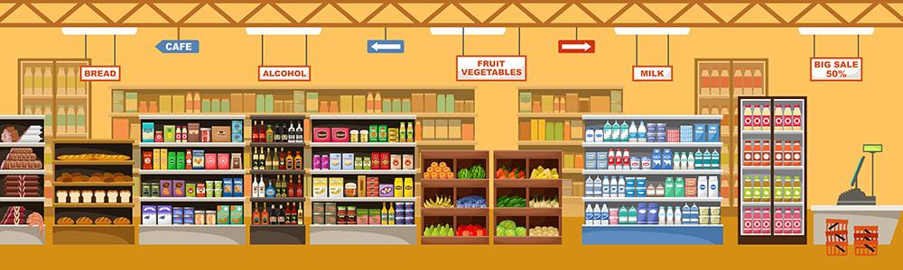 Produkte nach Warenkategorien im Suppermarkt für die Darstellung einer Listung im Handel