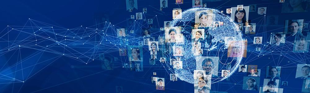 Digitale Weltkugel und die vernetzten Mitarbeiter stehen symbolisch für eine Karriere bei EDITEL