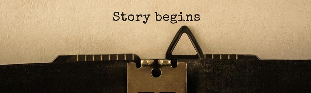"""Schreibmaschinenschrift """"Story begins"""" symbolisch für die Umstellung auf EDI: Aller Anfang ist leicht"""